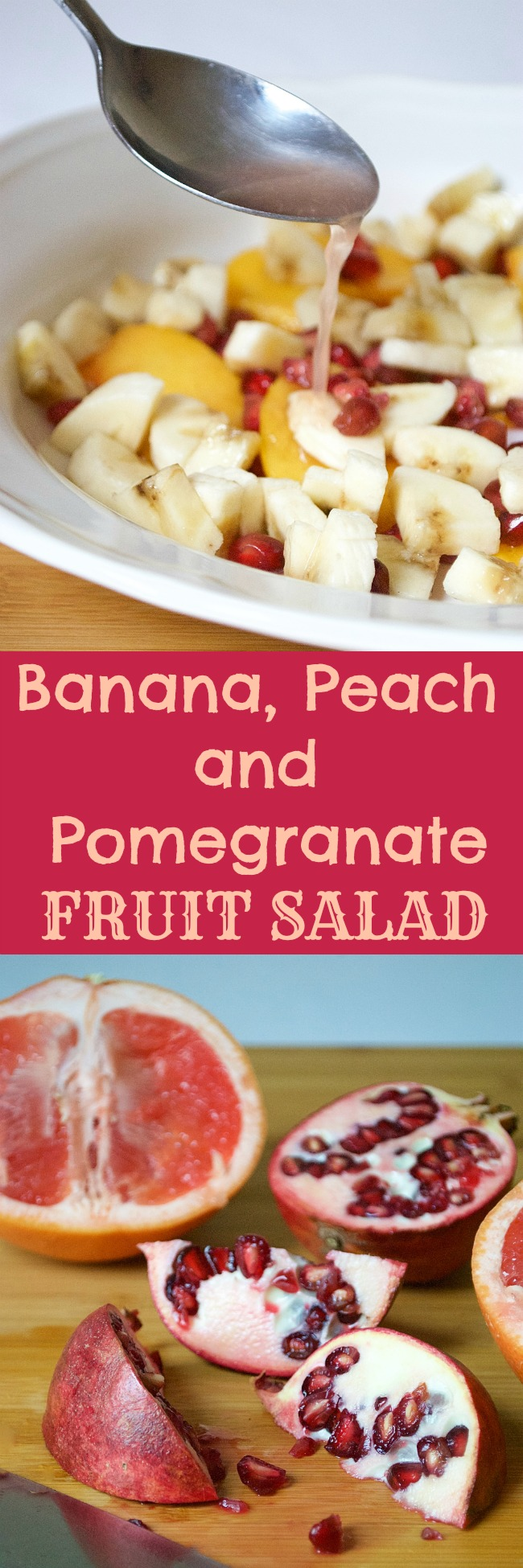 Banana, Peach and Pomegranate Fruit Salad. This fruit salad is so delicious and refreshing- not to mention versatile! Try using as a topping for yogurt or simply on its own for a healthy boost!